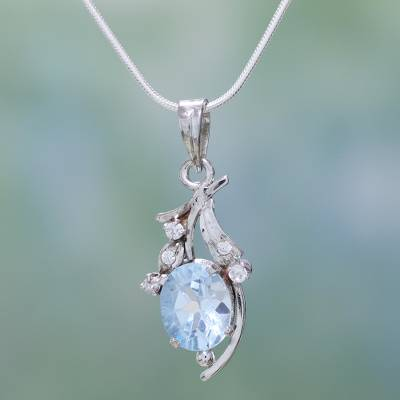 Blue topaz floral necklace, 'Scintillating Bouquet' - Fair Trade Sterling Silver Necklace Cubic Zirconia Jewelry