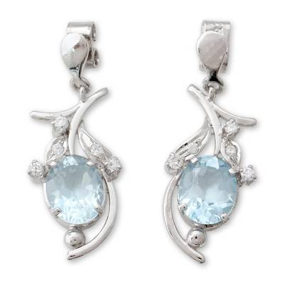 Hand Crafted Silver and Blue Topaz Earrings