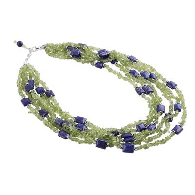 Peridot and lapis lazuli torsade necklace