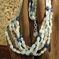 Rainbow moonstone and lapis lazuli strand necklace,