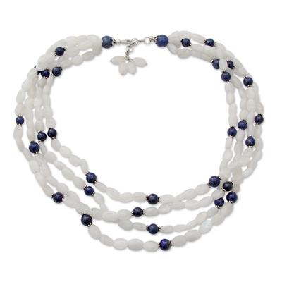 Rainbow Moonstone and Lapis Lazuli Strand Necklace