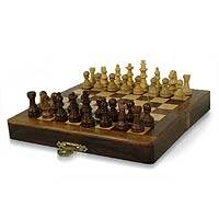 Wood chess set, 'Mighty Mind' - Artisan Crafted Wood Chess Set Game from India