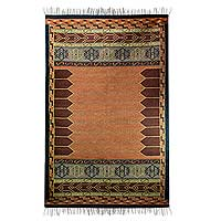 Wool rug, 'Crisp Coral' (5x8) - Indian Wool Area Rug Dhurrie (5x8)