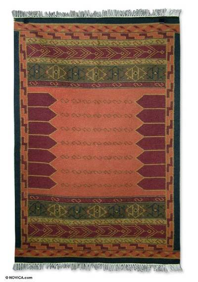 Wool rug, 'Crisp Coral' (4x6) - Indian Hand Loomed Wool Area Rug in Warm Colors (4x6)