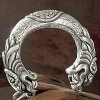 Sterling silver cuff bracelet, 'Dragon Majesty' - Women's Sterling Silver Cuff Dragon Bracelet