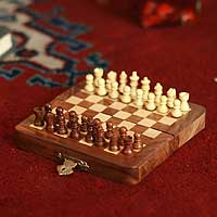 Wood chess set, 'Winning Strategy' (small) - Artisan Crafted Wood Chess Set Chess Game (Small)