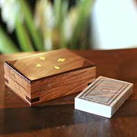 Wood box with cards,