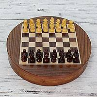 Wood chess set, 'Circular Reason' - Wood chess set