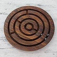 Wood labyrinth, 'Dexterity Challenge' - Labyrinth Game Hand Carved Wood from India