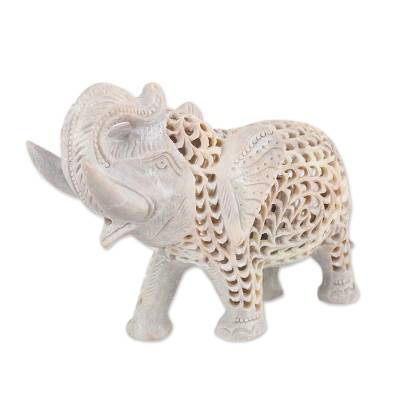Jali Natural Soapstone Sculpture from India