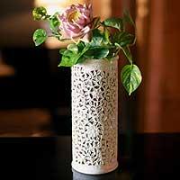 Soapstone vase, 'Moonlight Jasmine' - Handmade Jali Natural Soapstone Vase