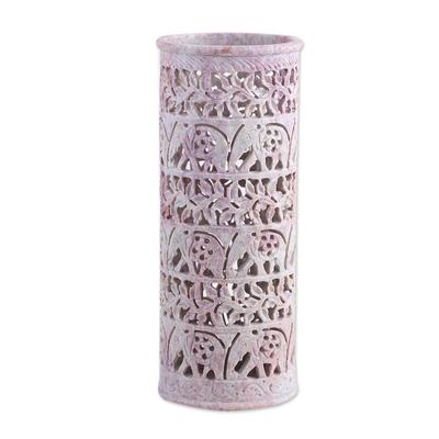 Soapstone vase, 'Elephant Jungle' - Handcrafted Natural Soapstone Decorative Vase