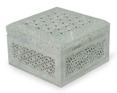 Unique Jali Soapstone Jewelry Box