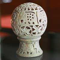 Soapstone candleholder, 'Elephant Parade' - India Hand Carved Soapstone Candle Holder