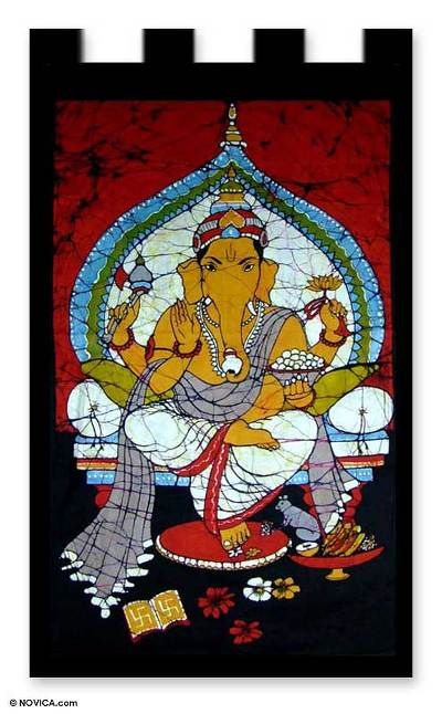 Batik Cotton Wall Hanging with Hinduism Theme
