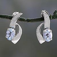 Blue topaz earrings, 'Skylight' - Blue topaz earrings