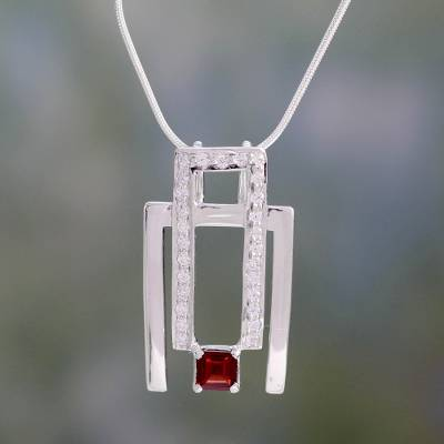Garnet pendant necklace, 'Harmonious Geometry' - Garnet pendant necklace