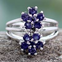 Iolite cluster ring, 'Dazzling Daisies' - Sterling Silver Cocktail Ring with Iolite Floral Jewelry