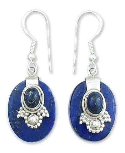 Artisan Jewelry Lapis Lazuli and Sterling Silver Earrings