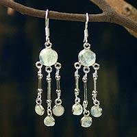 Rainbow moonstone chandelier earrings, 'Dreamer' - Rainbow Moonstone Earrings in Sterling Silver Handmade