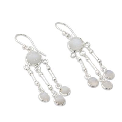 Rainbow Moonstone Earrings in Sterling Silver Handmade