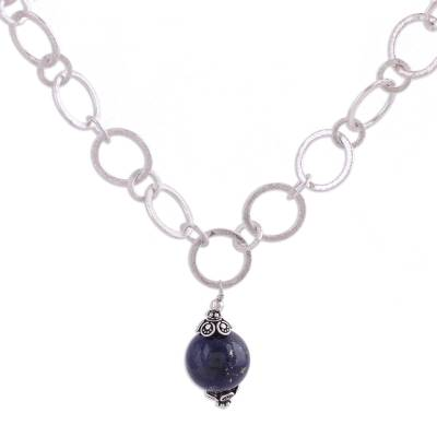 Artisan Crafted Sterling Necklace with Lapis Lazuli Pendant