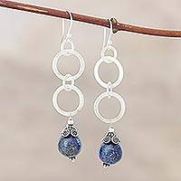 Lapis lazuli earrings, 'Love Foretold' - Artisan Crafted Sterling Silver and Lapis Lazuli Earrings