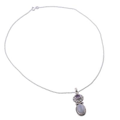Rainbow Moonstone and Amethyst Necklace from India