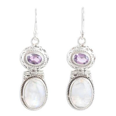 Rainbow Moonstone and Amethyst Dangle Earrings
