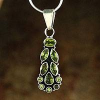 Peridot pendant necklace, 'Summer Allure' - Peridot Pendant on Sterling Silver Necklace from India