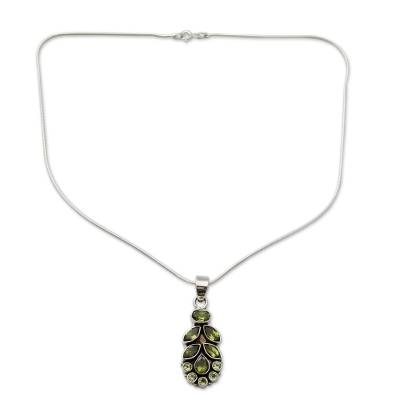 Peridot Pendant on Sterling Silver Necklace from India