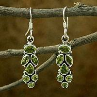 Peridot earrings, 'Summer Allure' - Peridot Earrings 9 Cts on Sterling Silver jewellery from Ind