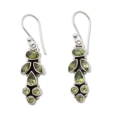 Peridot Earrings 9 Cts on Sterling Silver Jewelry from India