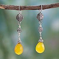 Chalcedony dangle earrings, 'Sunny Icicles' - Fair Trade Jewelry Sterling Silver and Chalcedony Earrings