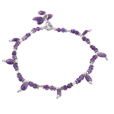 Amethyst Anklet Artisan Sterling Silver Jewelry