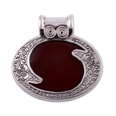 Sterling Silver and Carnelian Pendant Indian Modern Jewelry