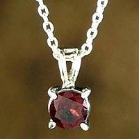 Garnet pendant necklace, 'Passion's Promise' - Garnet pendant necklace