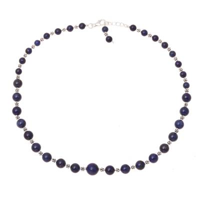 Sterling Silver Lapis Lazuli Necklace Beaded Jewelry