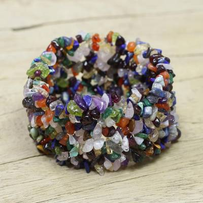 Gemstone beaded bracelet, 'Rainbow Girl' - Hand Crafted Beaded Multigemstone Bracelet