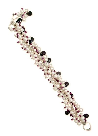 Pearl and garnet beaded bracelet