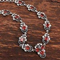 Garnet necklace, 'Dazzling Dew' - Garnet necklace