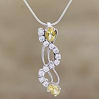 Citrine pendant necklace, 'Scintillating' - Citrine pendant necklace