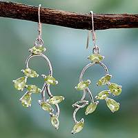 Peridot dangle earrings, 'Drifting Petals' - Peridot dangle earrings