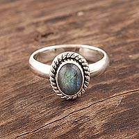 Labradorite cocktail ring, 'Mystery' - Fair Trade Jewelry Sterling Silver Labradorite Ring