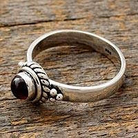 Garnet birthstone ring, 'Mystery' - Sterling Silver and Garnet Ring