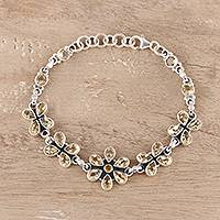 Citrine link bracelet, 'Butterfly Blossom' - Citrine Link Bracelet in Sterling Silver from India 25 Cts