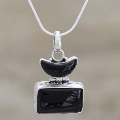Onyx pendant necklace, 'Midnight Moon' - Handcrafted Silver and Onyx Pendant Necklace