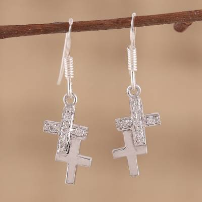 Sterling silver cross earrings, To Each a Cross