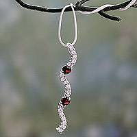 Garnet pendant necklace, 'Sparkling Treasure' - Sterling Silver Necklace with Garnet and Cubic Zirconia