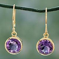 Gold vermeil amethyst dangle earrings, 'Mystical Flower' - Handcrafted Vermeil Dangle Amethyst Earrings
